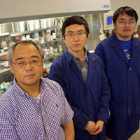 From left, IUPUI's Jian Xie, Yadong Liu and Fan Yang have helped unlock the secret to a revolutionary battery.
